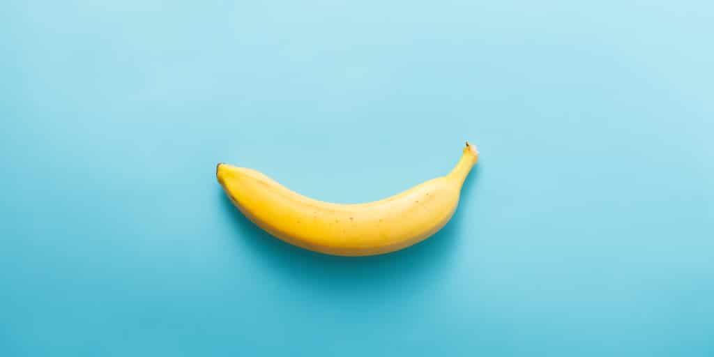 banana at blue background